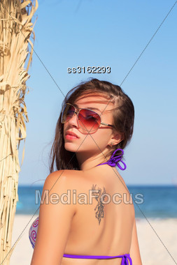Young Alluring Woman In Sunglasses Posing Near The Palm Stock Photo