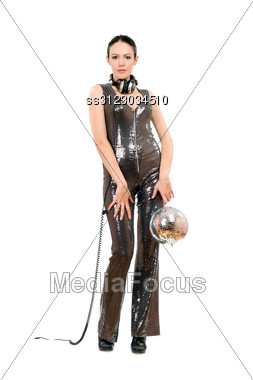 Young Beautiful Brunette With A Mirror Ball In Her Hands Stock Photo