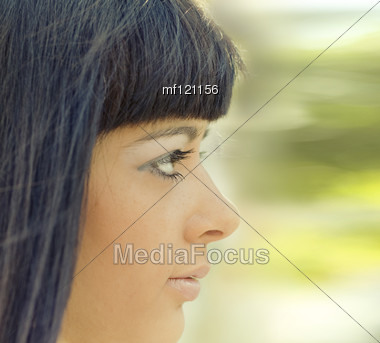 Young Beautiful Girl Close-up Portrait Stock Photo