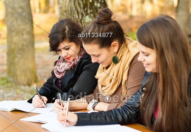 Young Beautiful Students Studying For Their Finals Stock Photo