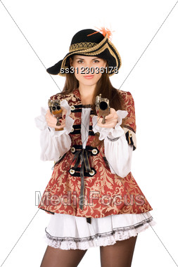 Young Beautiful Woman With Guns Dressed As Pirates Stock Photo