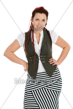 Young Beautiful Woman Wearing Striped Skirt Stock Photo