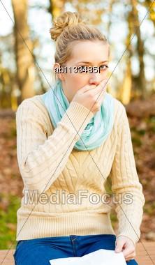 Young Beautiful Women Suffering From Influenza - Coughing Stock Photo