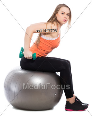 Young Blonde Training With Dumbbells. Isolated On White Stock Photo