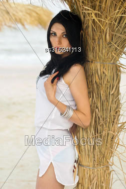 Young Brunette On A Beach Near The Palm Tree Stock Photo