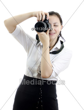 Young Brunette Girl With Photocamera Isolated On White Stock Photo