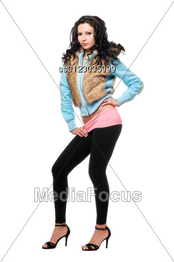Young Brunette In A Black Leggings. Stock Photo