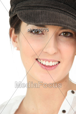 Young Brunette Wearing Hat Stock Photo
