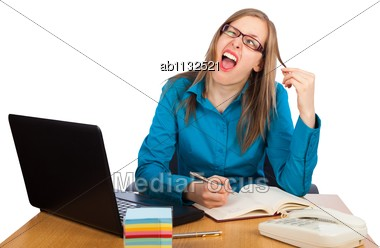 Young Businesswoman Is Fed Up With Work - Showing A Funny Face Stock Photo