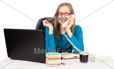 Young Businesswoman Talking On The Phone, Feeling Delighted Stock Photo
