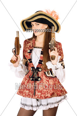 Young Charming Woman With Guns Dressed As Pirates Stock Photo