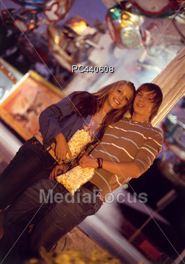 Young Couple at the Fair Stock Photo