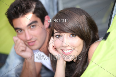 Young Couple In Tent Stock Photo