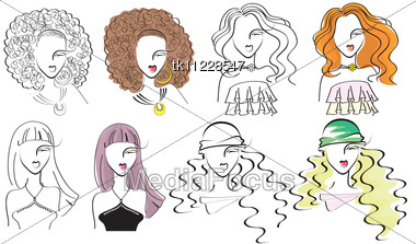 Young Fashion Women .Vector Portraits Stock Photo