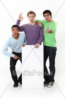 Young Friends Gathered Around Poster Stock Photo