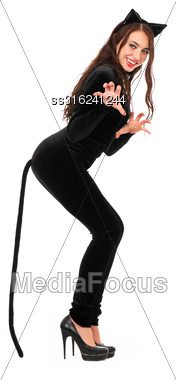 Young Joyful Woman Dressed In Black Catsuit. Isolated On White Stock Photo