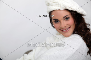 Young Lovely Brunette With Woolen-hat Stock Photo