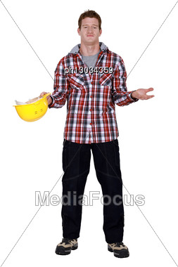 Young Man Begging For Money Stock Photo