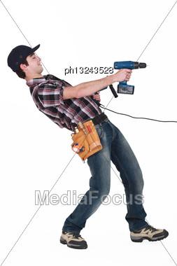 Young Man Horsing Around Stock Photo