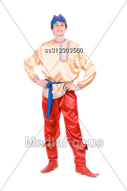 Young Man In The Russian National Costume Stock Photo