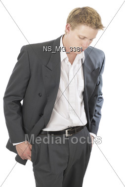 Young Man Looking Worried Stock Photo