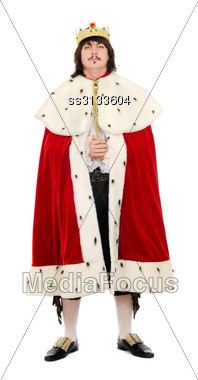 Young Man In The Royal Costume. Isolated On White Background Stock Photo