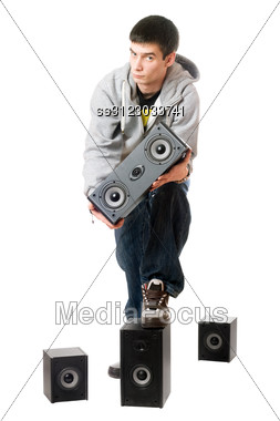 Young Man With A Speakers. Stock Photo