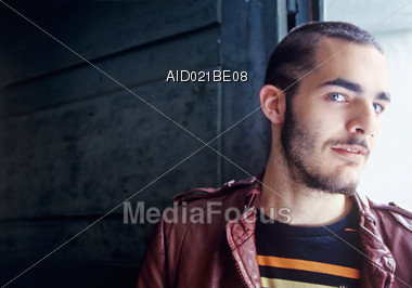 Young Man with Beard Stock Photo
