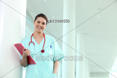 Young Nurse In The Hospital Stock Photo