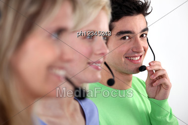 Young People Working In A Call Centre Stock Photo