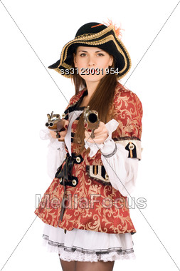Young Perfect Woman With Guns Dressed As Pirates Stock Photo