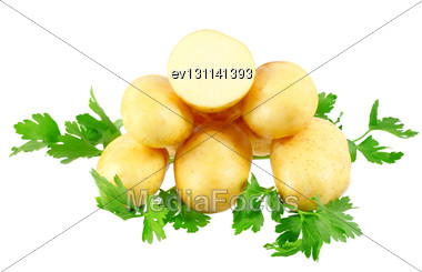 Young Potatoes, Decorating Of Parsley . Isolated Over White Stock Photo