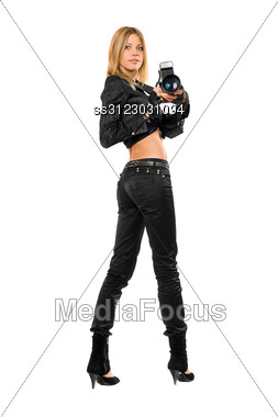 Young Pretty Blonde Holding A Photo Camera. Stock Photo