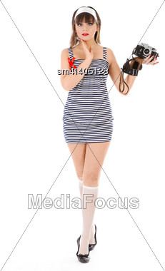 Young Pretty Woman Holding Old Photo Camera Stock Photo