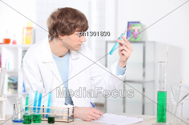 Young Scientist In Laboratory Stock Photo