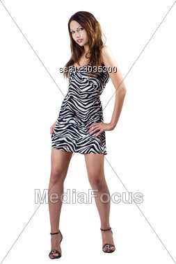 Young Sexy Beauty Woman In A Striped Dress. Isolated 3 Stock Photo