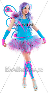 Young Sexy Woman Posing In Pink And Blue Butterfly Costume. Isolated On White Stock Photo