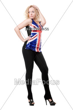 Young Sexy Woman Posing In Union-flag Shirt. Stock Photo