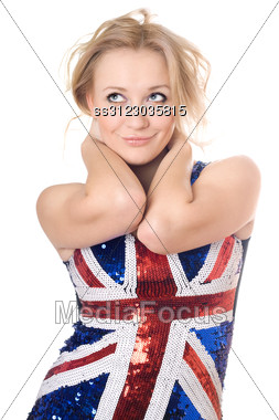 Young Smiling Blonde Wearing Union-flag Shirt. Stock Photo