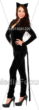 Young Smiling Woman Posing In Black Catsuit. Isolated On White Stock Photo