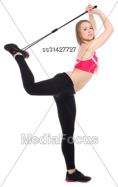 Young Sporty Woman Exercising With Expander. Isolated On White Stock Photo