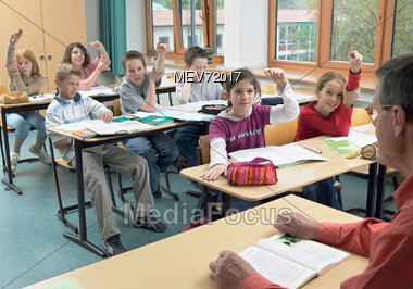 Young Students In A Classroom Stock Photo
