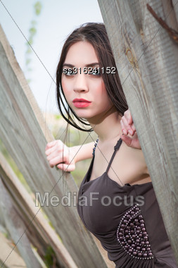 Young Thoughtful Brunette In Dress Posing Behind The Wooden Fence Stock Photo