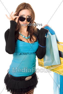 Young Woman After Shopping. Stock Photo