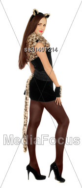 Young Woman Dressed As A Cat. Isolated On White Stock Photo