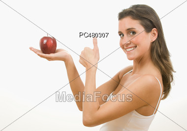 Young Woman Eating Healthy Stock Photo