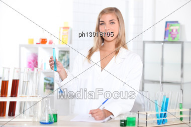Young Woman In Laboratory Stock Photo