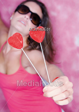 Young Woman in Love Stock Photo