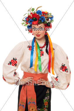 Young Woman In The Ukrainian National Clothes. Stock Photo