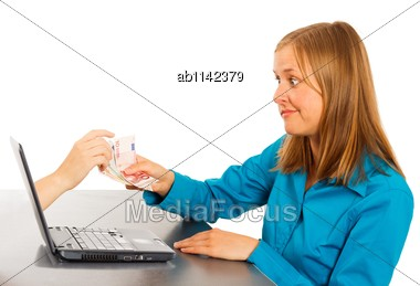Young Woman Making An Easy Online Money Transfer - Conceptual Image Stock Photo